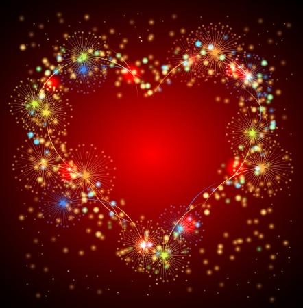red sky: Heart salute valentine background Illustration