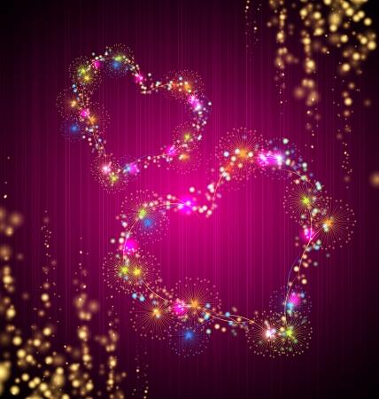 салют: Сердце салют Валентина фон с блеском