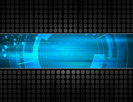 hi tech: abstract dark computer technology business banner background