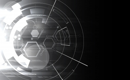 tech background: abstract black and white computer technology business banner background