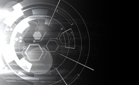 tech: abstracto negro y blanco de tecnolog�a inform�tica bandera negocios Vectores