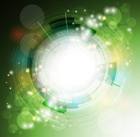 抽象エコグリーン コンピューター技術ビジネスのバナーの背景  イラスト・ベクター素材