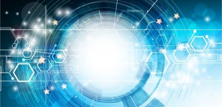 추상 흐림 강력한 컴퓨터 기술 사업 배너