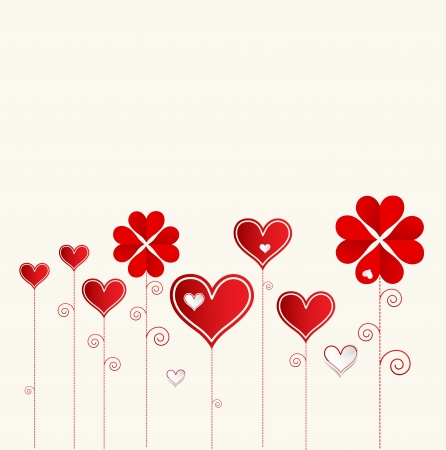 Love flower background with hearts valentine day card Stock Vector - 17749357