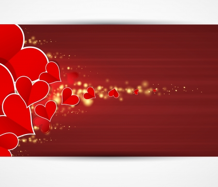 Happy Love background with hearts valentine day card banner Stock Vector - 17749450