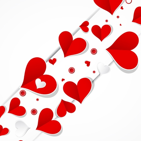 hart bloem: Liefde diagonale achtergrond met hartjes valentijn dagkaart banner