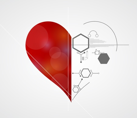 Abstract technology Love background with heart  I like technology Stock Vector - 17749456
