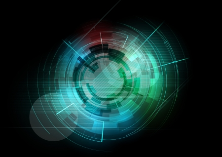 abstract dark round futuristic computer technology business background Vector