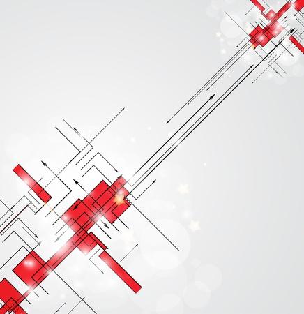 tecnologia: Abstrato vermelho Tecnologia circuito do vetor do fundo Ilustração