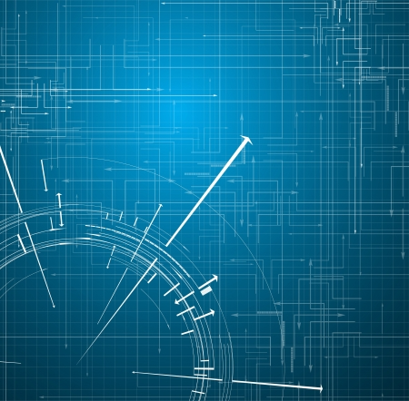 industrial scientific: Abstract blue Technology circuit background vector illustration with arrows