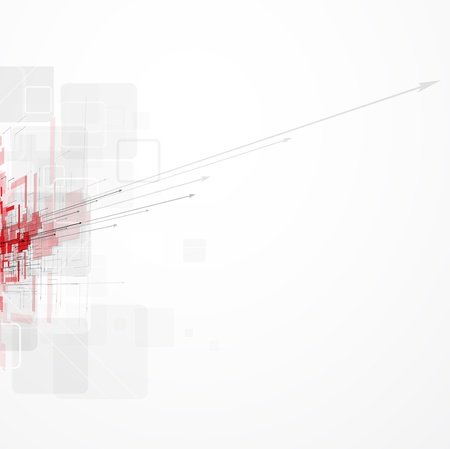 industrial scientific: Abstract red futuristic Technology circuit computer arrow background vector