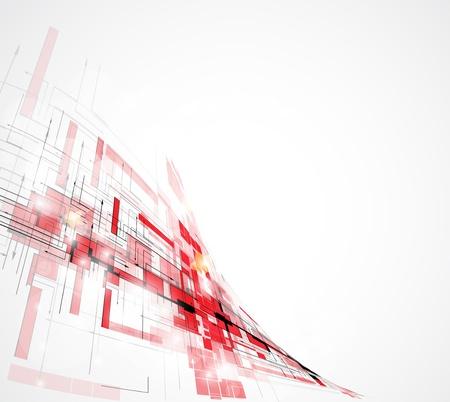 抽象的な赤未来技術回路コンピューター波背景ベクトル