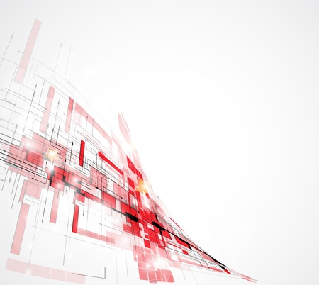 Abstract red futuristic Technology circuit computer wave background vector Çizim