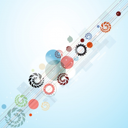 abstract bright coror circles and gears technology business background Vector