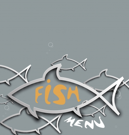 abstract stylized fish menu for restaurant background Vector