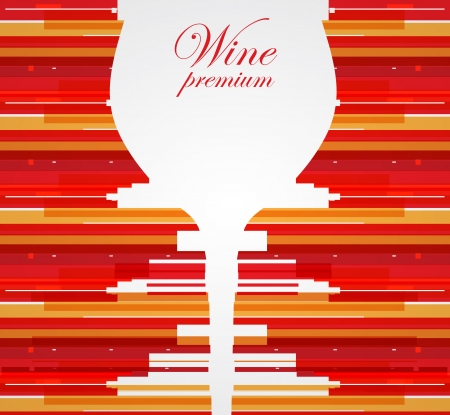 Wine menu card design with glass background Vector