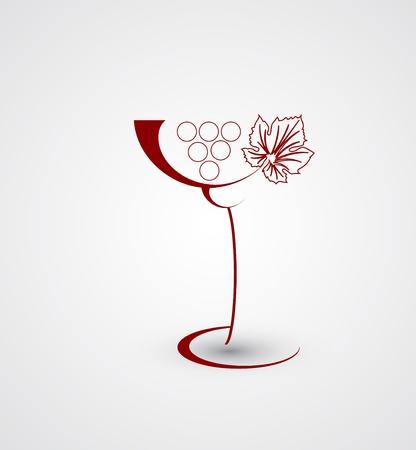Wine menu card design with glass background