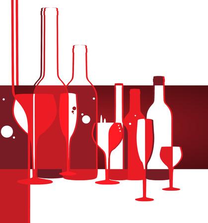 와인: 유리 배경으로 와인 메뉴 카드 디자인 일러스트