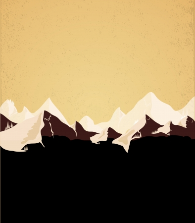 panoramic beach: Mountains retro vector background