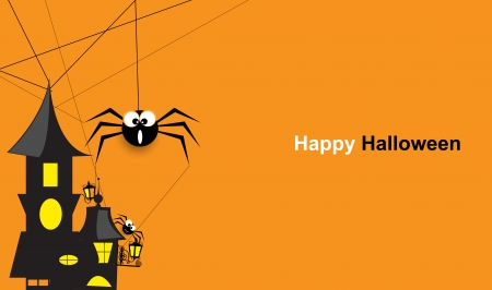 Halloween spider with abstract retro building abstract background Vector