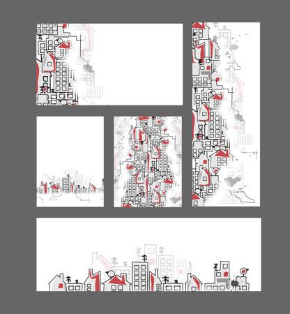 abstracte vastgoed stad circuit spiegel zakelijke achtergrond