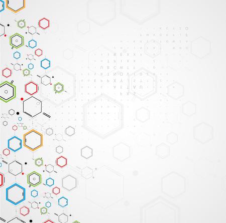 quimica organica: tecnología de la fórmula química abstracta ciencia de negocio de fondo Vectores