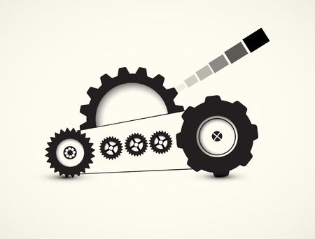 work in progress: tank machine technology gears. retro gearwheel mechanism abstract bacground Illustration