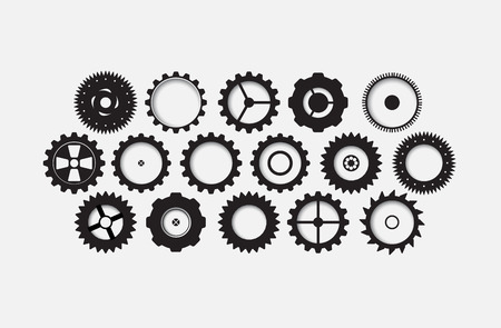 set machine technology gears. retro gearwheel mechanism abstract bacground Vector