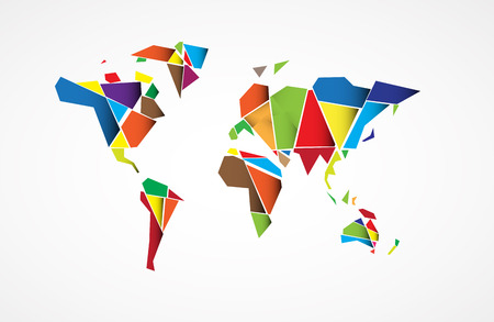 asia pacific: Abstract World map background in polygonal style vector format
