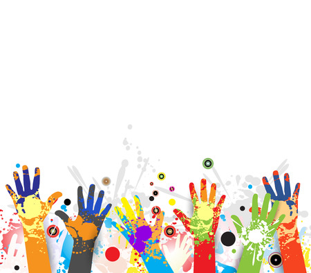 children hands in colorful paint with splash
