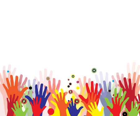 Kinder Hände in bunten Farben mit Spritz