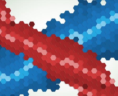 red point: abstract blue and red point hexagon background Illustration