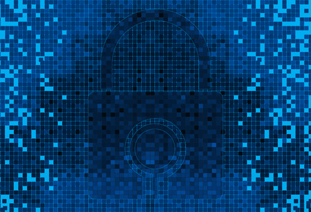 blue shield: Pixelated Padlock icon, digital technology concept background