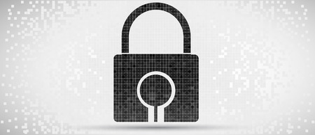 Pixelated Padlock icon, digital technology concept background Vector