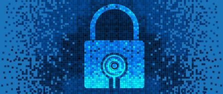 icono candado: Icono del candado de pixelado, concepto de fondo la tecnolog�a digital Vectores