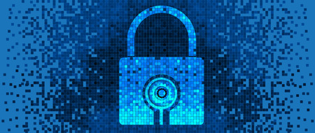 Pixelated Padlock icon, digital technology concept background