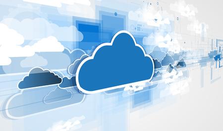 Modell der Integration-Technologie mit Wolke am Himmel. Die besten Ideen für die Präsentation des Unternehmens