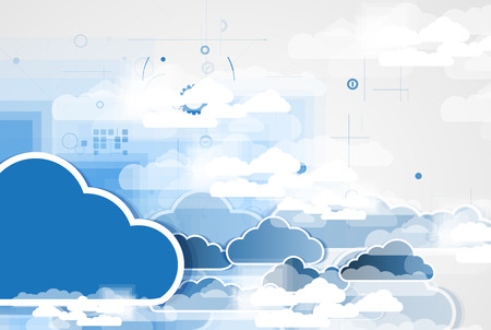 business change: Model of Integration technology with cloud in the sky. Best ideas for Business presentation
