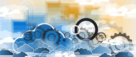 sensores: Modelo de la tecnolog�a de integraci�n con la nube en el cielo. Las mejores ideas para la presentaci�n de negocios Vectores