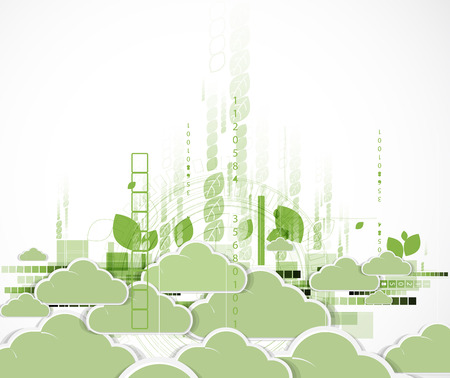 Abstract green technolgy business concept with cloud. Ecology background Illustration
