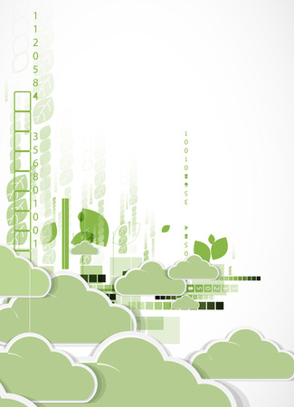 technolgy: Abstract green technolgy business concept with cloud. Ecology background Illustration