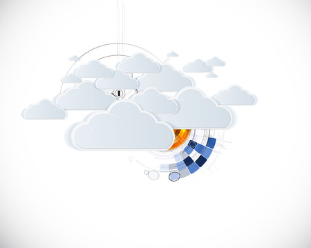 business presentation: Model of Integration technology with cloud in the sky. Best ideas for Business presentation