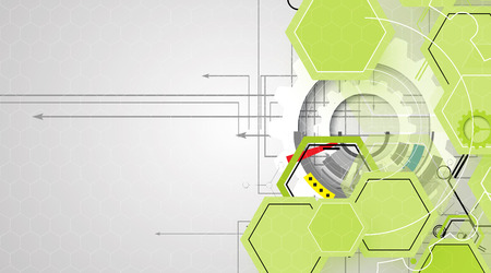 high tech eco green infinity computer technology concept background Vector