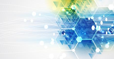 技术: 未來新技術的概念抽象的背景業務解決方案 向量圖像