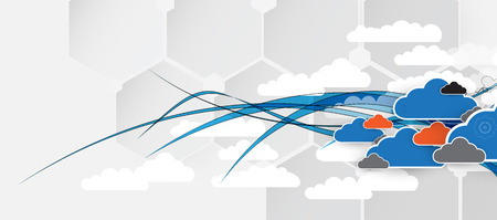 personal computer: Model of Integration technology with cloud in the sky. Best ideas for Business presentation
