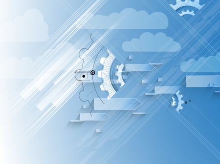 allocation: Model of Integration technology with cloud in the sky. Best ideas for Business presentation