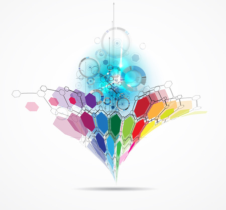 touch: Abstract tech background. Futuristic interface. illustration with many geometric shape.