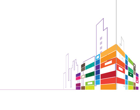 abstract real estate city circuit mirror business background 일러스트