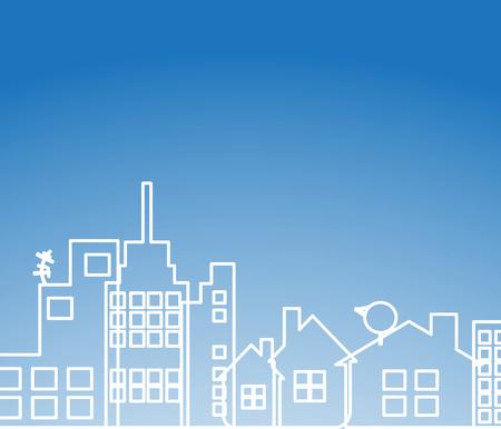 Bouw en vastgoed stad illustratie. Abstracte achtergrond voor zakelijke presentatie, verkoop, verhuur