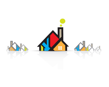 house building: Building and real estate city illustration. Abstract background for business presentation, sale, rent